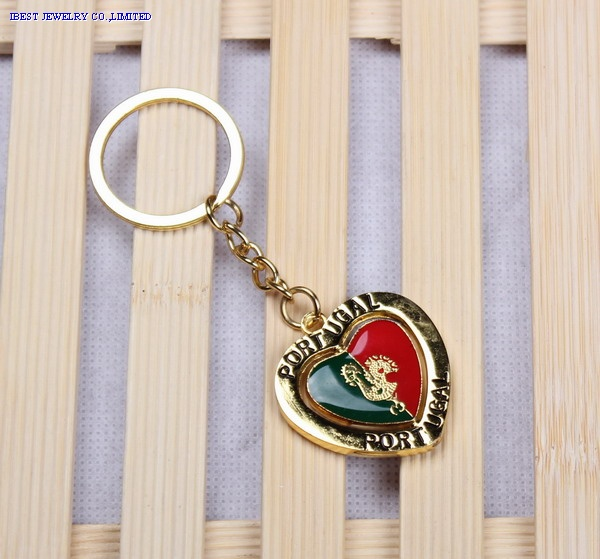 Zinc alloy key chain with rotating Portugal logo
