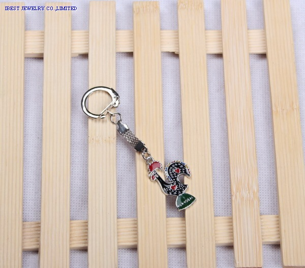 Zinc alloy keychain with color Portugal logo