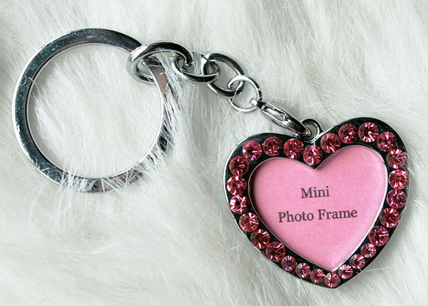 Zinc alloy photo fram key chain wth rhinestone