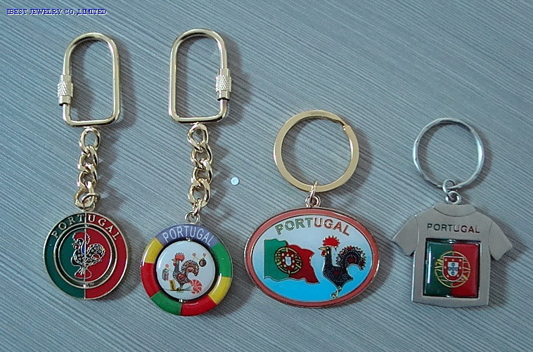 Zinc alloy keychain with Portugal logo