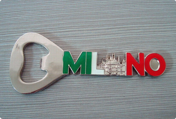 Metal bottle opener and fridge magnet