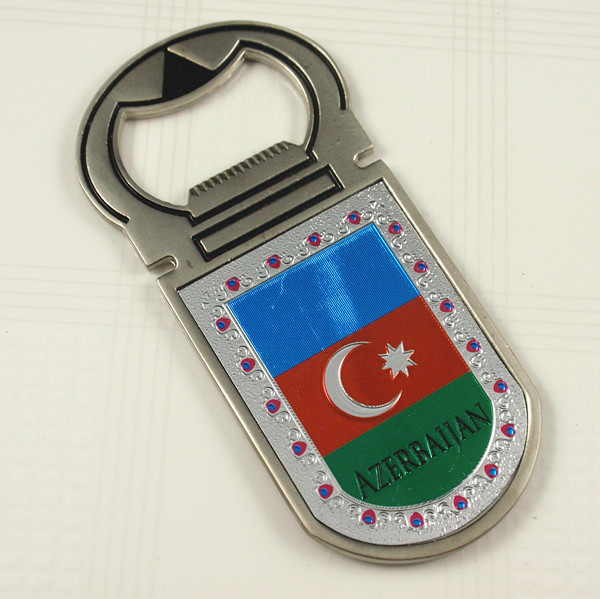 Metal bottle opener and fridge magnet souvenir