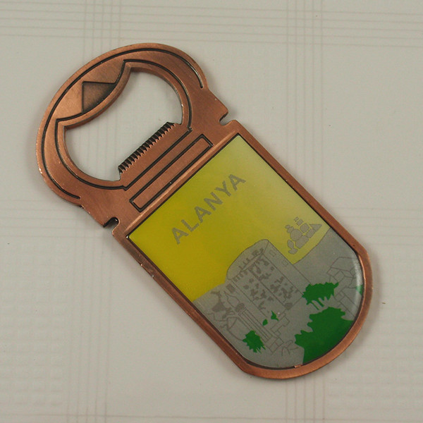 Metal bottle opener keychain and fridge magnet