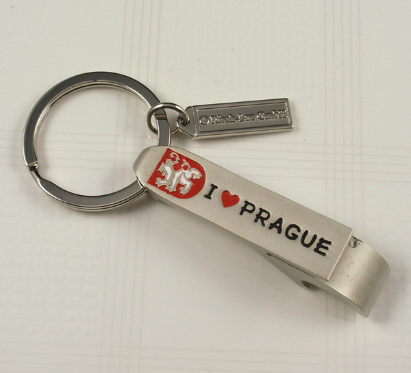 Bottle opener key chain with Prague