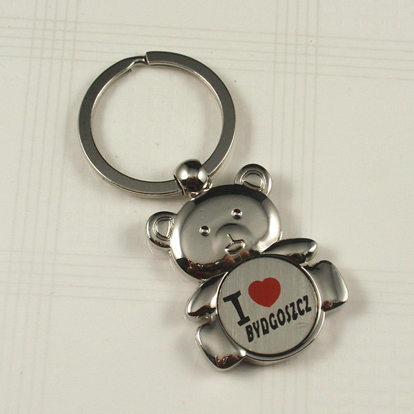 Souvenirs- Metal keychain with I love Poland logo
