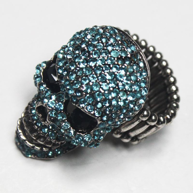 Fashion jewelry -Skull shaped Crystal finger ring