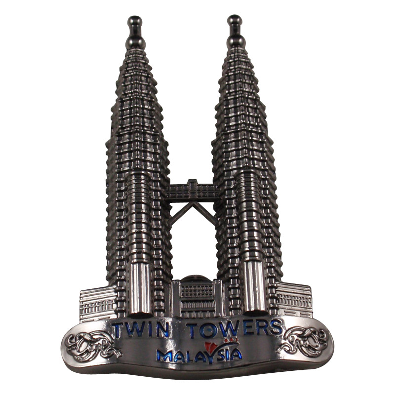 Twin towers of Malaysia  Metal fridge magnet