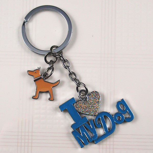 Metal word color enamel key chain