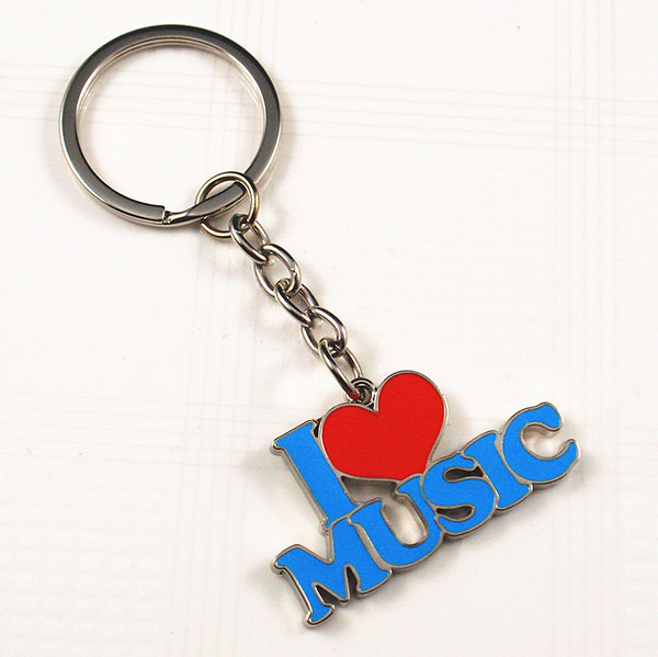 I love music word shaped metal key ring