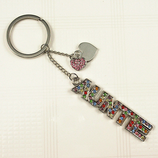 Rhinestones AUNTIE word key chain