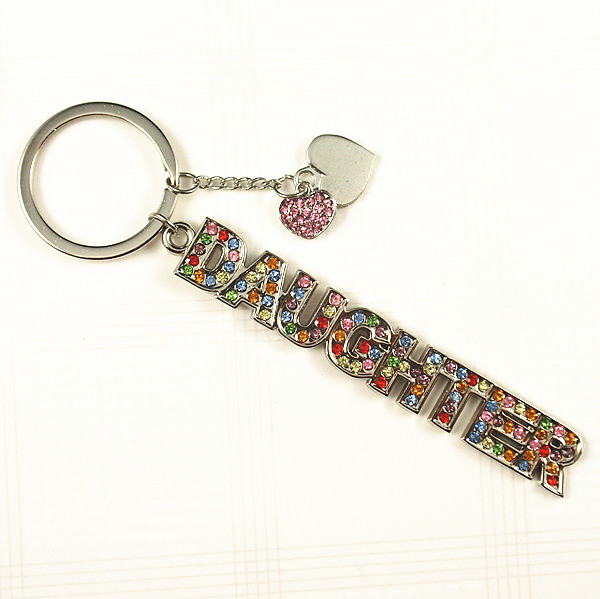 Crystal DAUGHTER word keychain