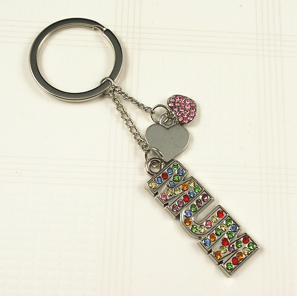 Crystal stone MUM word key chain