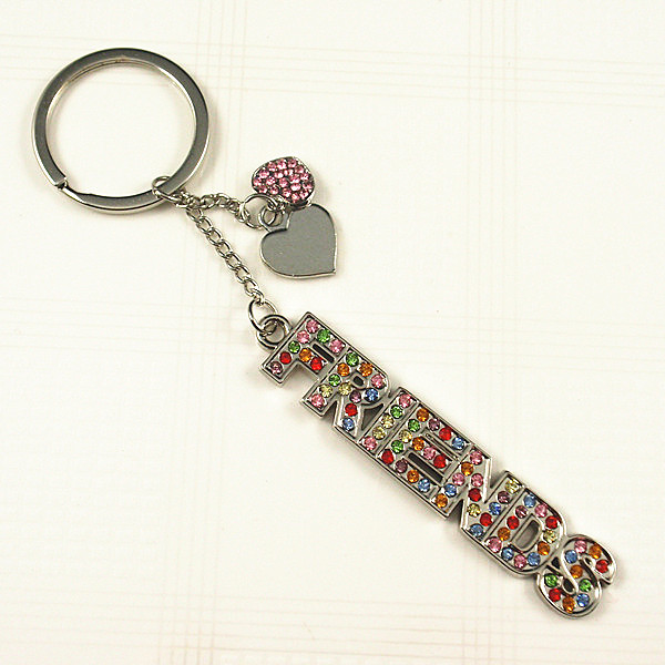 Crystal stone FRIENDS word key chain
