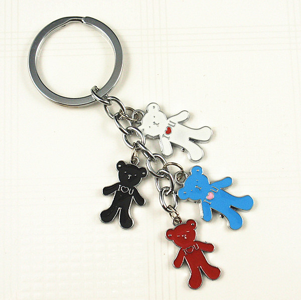 Metal charm color enamel key chain