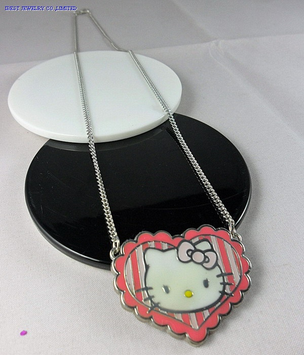 Hello kitty zinc alloy rhinestone necklace