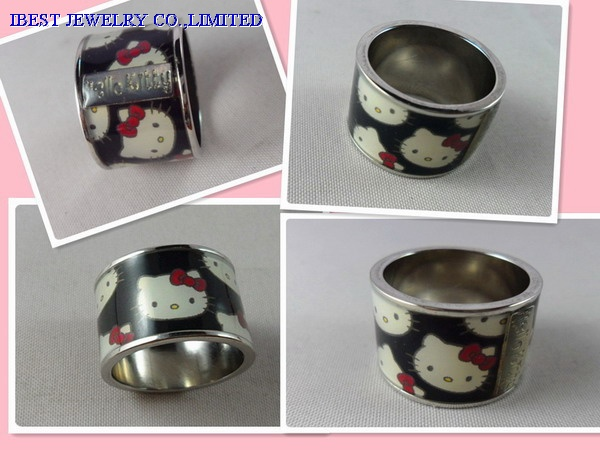 Hello Kitty Metal finger ring with epoxy sticker