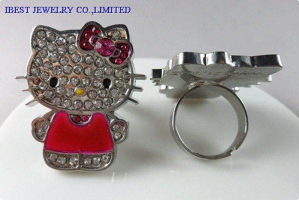 Hello Kitty rhinestones zinc alloy ring