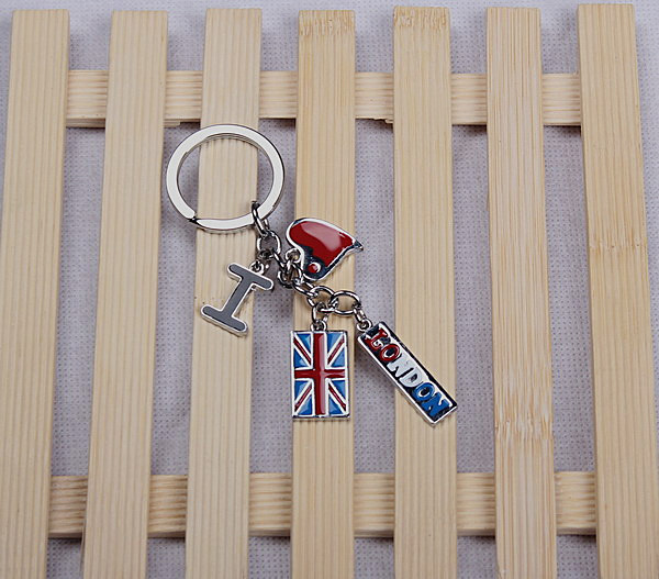 Zinc alloy key chain with London logo