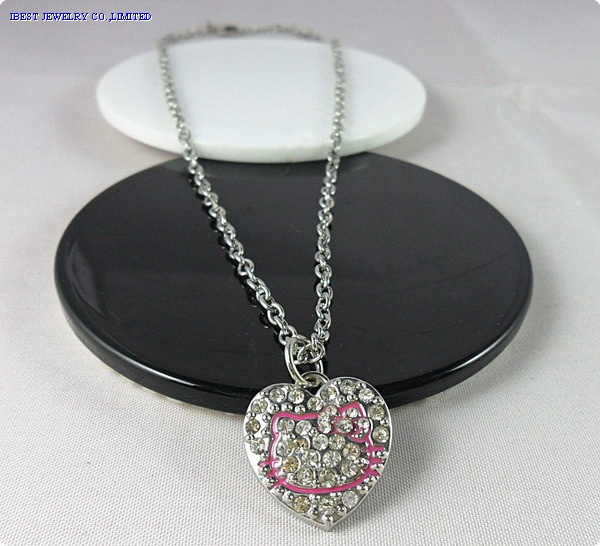 Hello kitty metal rhinestone necklace